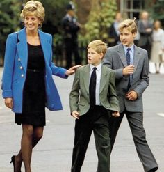 Princess Diana and her sons on Prince William's first day at Eton.