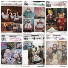 Six Vtg Simplicity Craft Doll Toy Sewing Patterns Goose Bear Bunny Stuffed Uncut #Simplicity