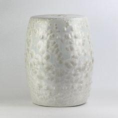 White Crystaline Glaze Chinaware Patio Stools. Ceramic ...