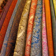 Imagine the things you could make with gorgeous fabrics like these in Florence! San Lorenzo Market, Gorgeous Fabrics, Dream Vacations, Royalty Free Stock Photos, Monogram, Elegant, Php, Carousel, Shawls