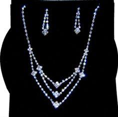 Silver Tone Rhinestone Necklace & Earring Set Pageant Prom Wedding Party / AZBLRH032-SCA Arras Creations http://www.amazon.com/dp/B00J1YN53A/ref=cm_sw_r_pi_dp_Ngqcub08YC6MG