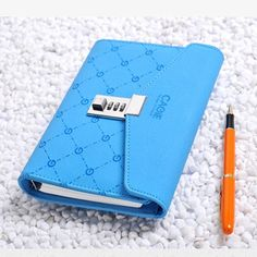 Sky Blue Leather Bound Journal Blank Notebook Planner Diary With Lock Password #journalwithLockpassword #Journaldiarynotebookmemonotepad