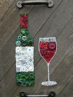 Red Wine Bottle & Glass - Custom Button Art - Home Decor - Diy - Diy home decor #homedecor #decor #rustic #diyhomedecor #rusticdecor #crafts #ad #affiliate