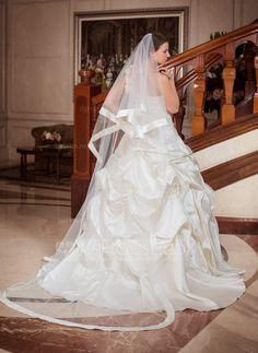 Uno capa Velos de novia catedral con Con lazo (006024485)