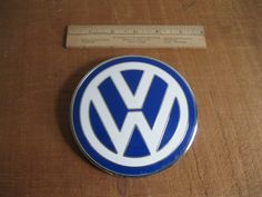 New Item!!! Vintage VW Bonnet Badge Emblem-Blue White Chrome-Made In Italy...Free Shipping...Reshopgoods by Reshopgoods on Etsy