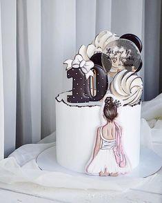 Baby Girl Birthday Cake, 4th Birthday Cakes, Fondant Cake Designs, Fondant Cakes, Teen Cakes, Girl Cakes, Watercolor Wedding Cake, Cake Drawing, Beautiful Birthday Cakes