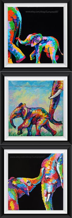 Colorful elephant painting on canvas wall decor by SumareeART Colorful Elephant, Elephant Art, Baby Elephant, Pop Art, Canvas Wall Decor, Arte Pop, Baby Art, Animal Paintings, Art Pictures