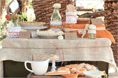 orange, burlap, and white wedding.