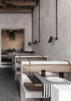 wear this there: paradise soho. Design Café, Cafe Design, Design Ideas, Commercial Design, Commercial Interiors, Plywood Furniture, Brutalist Buildings, Hotel Restaurant, Restaurant Interior Design