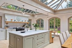 KITCHEN Orangery kitchen extension by Vale Garden Houses Kitchen Orangery, Conservatory Kitchen, Conservatory Decor, Victorian Conservatory, Living Room Kitchen, Home Decor Kitchen, Country Kitchen, Kitchen Ideas, Kitchen Layout