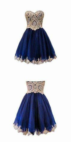 Sparkly A-line Sweet 16 Dresses Lace Short Navy Blue Homecoming Dresses 2016 Homecoming Dresses 2018 Semi Dresses, Hoco Dresses, Quinceanera Dresses, Pretty Dresses, Beautiful Dresses, Dress Outfits, Dresses 2016, Chiffon Dresses, Formal Dresses