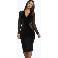 Boohoo Night Debbie Mesh Insert Velvet Midi Dress ($18) ❤ liked on Polyvore featuring dresses, black, black bodycon dress, black tuxedo, black party dresses, sequin party dresses and black velvet dress