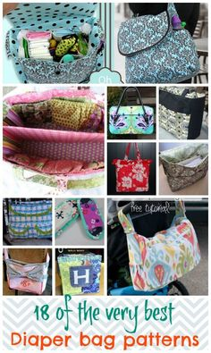 Awesome collection of free diaper bag patterns and tutorials.  I'm going to mix and match features to get my perfect diaper bag.