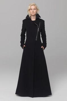 UNCONDITIONAL black pure new wool classic maxi belted military style maxi coat with heavy chrome zip Dark Fashion, Gothic Fashion, Hijab Fashion, Fashion Outfits, Military Fashion, Military Style, Cool Coats, Maxi Coat, Future Fashion