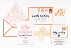 Preppy Palm Beach Wedding Stationery / Design Coral Pheasant / Calligraphy Moira Ink
