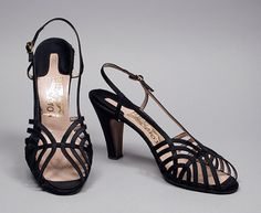 Sandals, Salvatore Ferragamo (Italy, 1898-1960): ca. 1952, silk satin, leather.