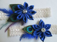 Royal Blue Wedding Garter Set Peacock by NakedOrchidGarters Sapphire Blue Weddings, Blue Sapphire, Wedding Garter Lace, Bridal Lace, Woodland Wedding, Diy Wedding, Wedding Ideas, April Wedding, Wedding Colors