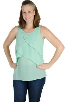 Yay for a breastfeeding shirt that you can (and will) wear long after your breastfeeding days are over! This shirt is perfectly light with great pull up feeding access. The nursing top is made almost entirely of chiffon, so there is not the stretch (or cling) of our other tops. This shirt is a great option for those 3+ months out from pregnancy (or order up a size). When the bottom ruffle is lifted, the classic Latched Mama v-neck appears, made out of our typical forgiving modal fabric.  The…