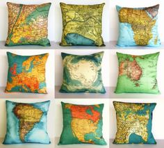 Map throw pillows. I'm in love with all things map-themed these days.