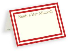 Red Striped Border Personalized Placecards