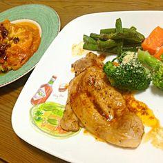帰りが遅かったので、簡単夕食(^_^;) 豚ロースのスパイスミックス、トマトジュースソテーとラザニア❗❗ - 46件のもぐもぐ - 豚ロースのトマトジュースソテー&ラザニア by wildcatffm