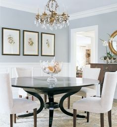 Classic Chic Home: My Obsession with Beautiful Blue Rooms. Home decor and interior decorating ideas. Dining room with round table. Perfect inspiration to stage homes.  lake home.