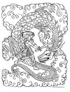 strong woman fighting dragon free coloring sheet!