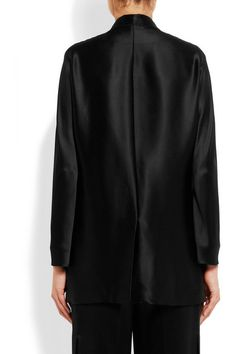 Black silk-satin Breast pocket, front flap pockets, back vent Button fastening at front 100% silk; trim: 68% viscose, 32% silk; pocket lining: 57% viscose, 43% elastane Dry clean Made in Italy  As seen in The EDIT magazine