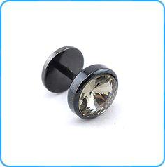 ES02141 Surgical stone plated black fake plugs wholesale sexy nightclub men earrings