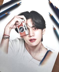 Cute Girl Sketch, Anime Boy Sketch, Kpop Drawings, Art Drawings Sketches, Pencil Drawings, Taehyung Fanart, Bts Taehyung, Bts Army Logo, Bts Art