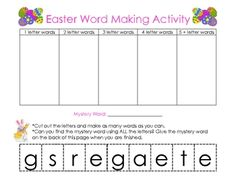 This Easter activity is great for a Word Work activity used at Easter Centers or The Daily 5. For all learning abilities, great for multi-age class...