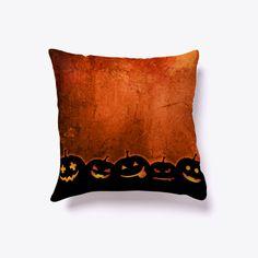 Halloween Pillow Pumpkin Smile Black T-Shirt Front