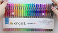 KINGART gel pens have the ink of competitors! Enjoy 50 unique colors in this set. The ink in each pen is acid free, non-toxic, & resists fading. Cute Stationery, Stationery Items, Stationary, Best Highlighter, Cool School Supplies, Stabilo Boss, Glitter Gel, Too Cool For School, Pen Sets