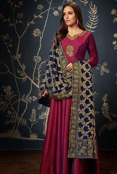 Get Alluring Maroon Color Shiny Silk Designer Anarkali Suit latest designer party wear salwar suits, wedding wear anarkali dress for women at VJV Fashions Indian Designer Sarees, Designer Anarkali, Designer Suits Online, Designer Gowns, Churidar, Salwar Kameez, Salwar Suits, Punjabi Suits, Anarkali Dress