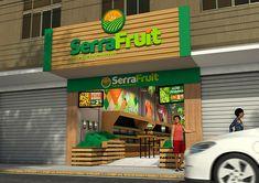 Sinalização Serra Fruit - CGI on Behance Supermarket Design, Retail Store Design, Kiosk Design, Signage Design, Juice Bar Interior, Fruit Shop, Fruit Fruit, Juice Bar Design, Vegetable Shop