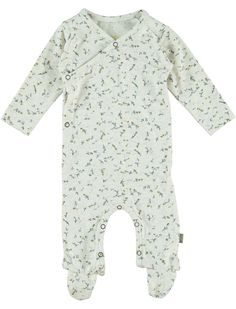 Kidscase Happy Flower Print Footed Onepiece: This soft Organic cotton footed one-piece by Kidscase has a ditzy all over flower print. It has delicate Antique Brass popper opening on the front and across the leg inseam for easy changing.