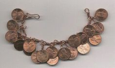 Copper Wire Link Bracelets   Handmade Copper Chain Bracelet with Penny Charms