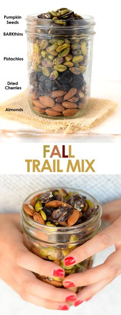 Make your own fall trail mix for a sweet and salty, in-season snack made with real food and in less than 5 minutes! Trail Mix Recipes, Fall Recipes, Real Food Recipes, Snack Recipes, Yummy Food, Recipes Dinner, Dinner Ideas, Benefits Of Organic Food, Healthy Food Options