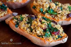 Stuffed Sweet Potatoes with Quinoa, Kale, Cranberries & Almonds by lesliedurso: Satsifying and super healthy! #Sweet Potatoes #Quinoa #Healthy #Vegan