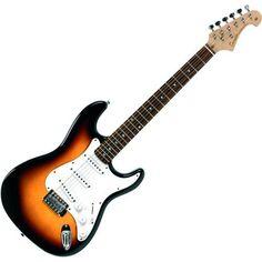 Tenson F503103 - Guitarra eléctrica RC-100, diseño 3-Tone sun burst ; 113,44€  Peso: 3 kg; Cuerpo: Tilo americano macizo; Mástil de arce; Diapasón de Palisandro; cejilla 43mm; 3 pastillas simples; 1 volumen y 2 tono; Hardware cromado; Botones blancos.