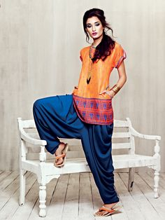 Short silk kurta with patiala pants