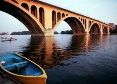 Francis Scott Key Bridge across the Potomac River between Arlington, VA and Georgetown in Washington, DC Capitol Hill Washington, Georgetown Washington Dc, Washington Dc Area, Arlington Virginia, Potomac River, Virginia Is For Lovers, Kayaking, Travel Inspiration, Bridge
