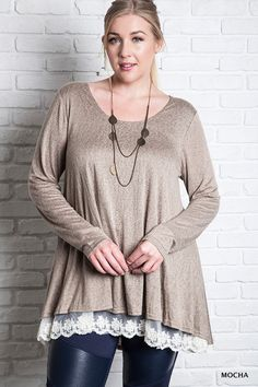 NWT Umgee WB5433 Long Sleeve Knit Tunic Top with Lace Mocha Brown Plus XL 1X 2X  #Umgee #Tunic #Casual