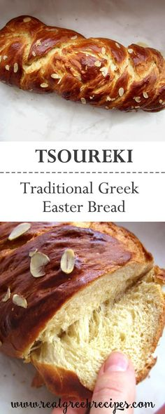 Tsoureki is a traditional Greek sweet bread shaped into a braid and made on Easter. Very delicious flavored with mahleb and topped with flaked almonds! Greek Easter Bread, Greek Bread, Easter Bread Recipe, Easter Recipes, Greek Sweet Bread Recipe, Greek Desserts, Greek Recipes, Vegan Recipes, Cooking Recipes