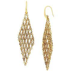 Diane Von Furstenberg Atlantis Woven Chain Chandelier Earrings (1,835 HNL) ❤ liked on Polyvore featuring jewelry, earrings, gold, gold chain earrings, golden earring, gold tone jewelry, braid jewelry and chandelier earrings