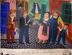 The text under this painting read  the Gonzalez family was robbed but saved by Our Lady of San Juan de los Lagos floating inbetween them.A milagro! Aug. 28,1947