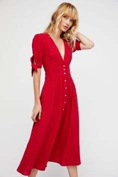 Love Of My Life Midi Dress | Darling gauzy cotton Endless Summer midi dress. * V-neckline * Defined waist * Front button closures * Cute ties at the sleeves cuffs
