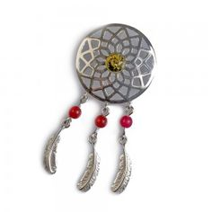 Green Amber, Coral and Silver Dreamcatcher Pendant with Silver Chain Dreamcatcher necklace for festival style