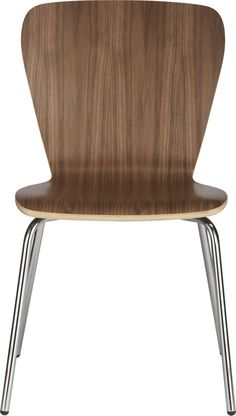 Classic bentwood seating to mix, match and stack at a value.  Retro modern hourglass shape curves with a generous seat and back in a versatile walnut finish; sturdy chrome-plated tube legs. Birch bentwood and walnut veneerClear protective lacquer finishChrome tube baseStacks up to four highMade in China.