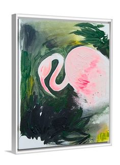 Flamingo abstract canvas print by Lindsay Letters.